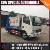 Camion d'ordures de compacteur de 4*2 Dongfeng 5cbm, camion d'ordures de compactage à vendre