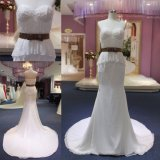 Amor que rebordea el vestido de boda largo Chiffon de la sirena de la alineada del cordón