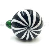 Flor de gravação padrão decorativo Taça do Tubo de vidro colher W Shape Mármores preto (ES-HP-139)