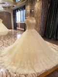 シャンペンの錯覚のレースの豪華な夜会服のウェディングドレス