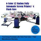 6 Station-Bildschirm-Drucken-Maschinen der Farben-12 für T-Shirt