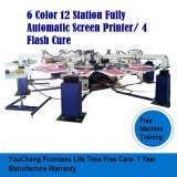 6 t-셔츠를 위한 기계를 인쇄하는 색깔 12 역 스크린