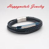 方法青い本革のステンレス鋼の止め金の宝石類のブレスレット