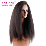 Kinky directamente un 180% Brasileña de densidad de pelo humano encaje peluca delantera