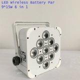 Indoor 9*15W inalámbrica alimentada por batería plana LED de luz PAR