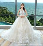 Vestido de casamento Sleeveless S17314 do laço nupcial superior completo da pena dos vestidos de esfera do laço