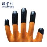 13G 폴리에스테 쉘 오렌지 3/4는 까만 니트릴 핑거에 의하여 강화된 안전 장갑을 입혔다
