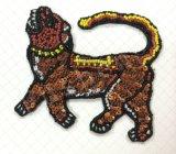 Accesorio de vestido cordón parche bordado a mano de tigre