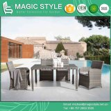 Conjunto de jantar em vime exterior com jardim Almofada de cadeira de jantar mesa de jantar de vime Cadeira de tecelagem de vime Patio Wicker mesa de jantar