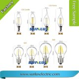 G45 Edison E14 E27 da lâmpada de incandescência de LED de intensidade da vela de vidro