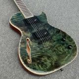 Burl Kallaite Hh Abolone Green Top Inlay F Semi agujero de la cadena de cuerpos huecos a través de China Wholesale guitarras eléctricas