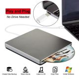 C USB Drive CD Player de DVD externo queimador para PC/notebook/Mac (Cinza)