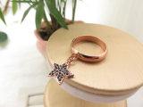 宝石Fashion 実質の金張りはたる製造人の黒ダイヤの星のリングをぶら下げる
