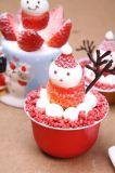 강선을 굽는 빨간 둥근 상한 알루미늄 호일 크리스마스 케이크 및 푸딩