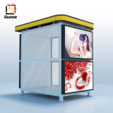 Refugio de autobús mobiliario urbano de la pared de cristal de la parada de autobús de pasajeros esperando la lluvia la vivienda