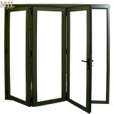 Revestimento de alumínio Bifold moderno Perfil de madeira porta rebatível Bi Deslizante
