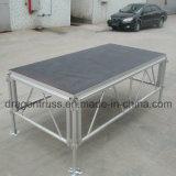 Fase móvil en el exterior de aluminio de la etapa de baile de la plataforma de madera