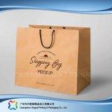 Papel Kraft marrón Embalaje Bolsa de transporte para ir de compras// Regalo ropa (XC-bgg-009)