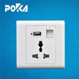13A Tomada Elétrica de 3 Pinos do Interruptor da Luz de soquete USB