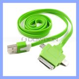 3 in 1 Flat USB2.0 Cable Color USB Noodle Cable für iPhone Samsang HTC Huawei