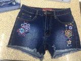 Горячая джинсовая ткань вышивки способа 2017 замыкает накоротко джинсыы женщин