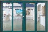 Puerta deslizante revestida moderna del PVC de la película de color verde del estilo para el departamento
