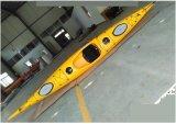 Le kayak de mer en plastique s'assoit au kayak d'océan avec pagaie