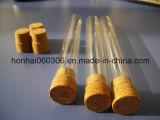 Cuello liso de fondo redondo de tubo de ensayo de vidrio con tapón de corcho