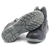 El corte del alto acción suave de piel de zapatos de seguridad de acero Negro