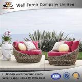 健康なFurnir T-100のバレンタインのプールサイドの一義的な編まれた柳細工のネスティング回転の寝台兼用の長椅子