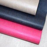 多彩な格子によって浮彫りにされるのどPU革総合的な織り目加工袋の革
