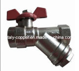 Y Strainer Ball Valve dell'ottone con Buttefly Handle