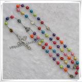 De kleurrijke Plastic Rozentuin van Strepen met het Kruis van het Metaal, de Juwelen van de Manier (iO-Cr230)