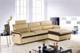 あと振れ止めが付いているL形の革リクライニングチェアのソファー
