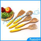 Утварь бамбука установленная кухня 5 частей варит инструмент