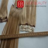 Clip européen de cheveux humains de Remy sur la trame