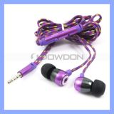 3.5mm Fashion Color Woven Cable Earphone mit Mic für PC iPhone iPad Samsung-MP3 Tablet