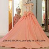 Hochzeits-Kleid schnüren sich oben rückseitiges Appliqued Kurzschluss-Hülsen-Abend-Kleid