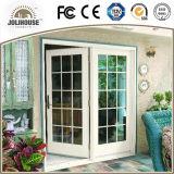Da fibra de vidro barata UPVC/PVC do preço da fábrica de China portas de vidro plásticas personalizadas fábrica do Casement com grade para dentro