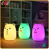 Lámpara multicolora del cuarto de niños de los cabritos de la noche del oso lindo LED de la luz para el regalo de cumpleaños de los niños