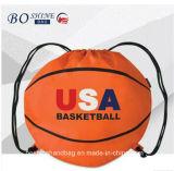 Sac de cordon bon marché de forme de basket-ball de sport avec le modèle estampé