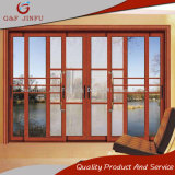 Perfil de aluminio pistas Triple balcón puerta deslizante con mosquitera