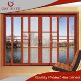 Деревянный триппель зерна отслеживает алюминиевую раздвижную дверь профиля с двойным стеклом