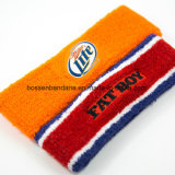 Fabrik-Erzeugnis passte Firmenzeichen-Stickerei-Sport-rotes Tuch-Schweiss-Stirnband an