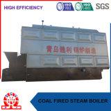L'ingénieur à l'étranger entretiennent la chaudière horizontale de charbon