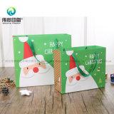 Logo personnalisé imprimé fantaisie décoratifs Santa Claus Sac en papier d'Emballage de cadeau de Noël avec poignée