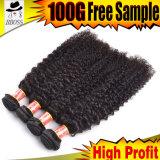 Человеческие волосы курчавого Weave бразильские Unprocessed