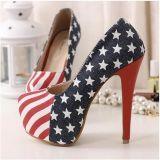 Las mujeres Europa Estados Unidos multan el alto talón plataforma impermeable los solos zapatos