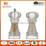 Lado de plástico acrílico operar sal e pimenta Mill