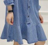Falda ocasional del dril de algodón de Falbala del collar del polo de las mujeres